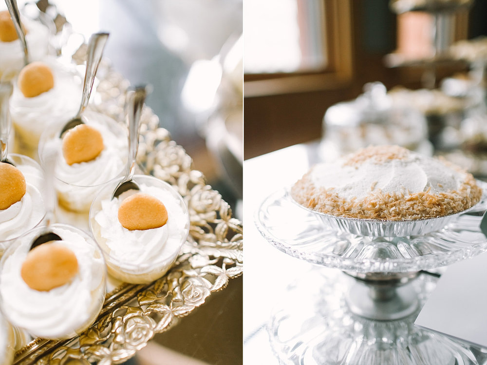 Mini banana pudding desert bar wedding