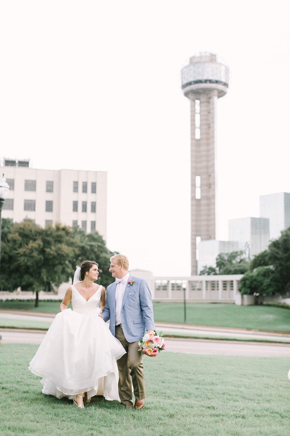 Old Red Museum wedding couple picture with reunion tower in the backgroun
