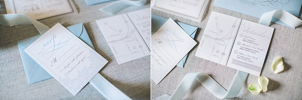 Dusty blue details map for wedding at Brik Special Event Venue