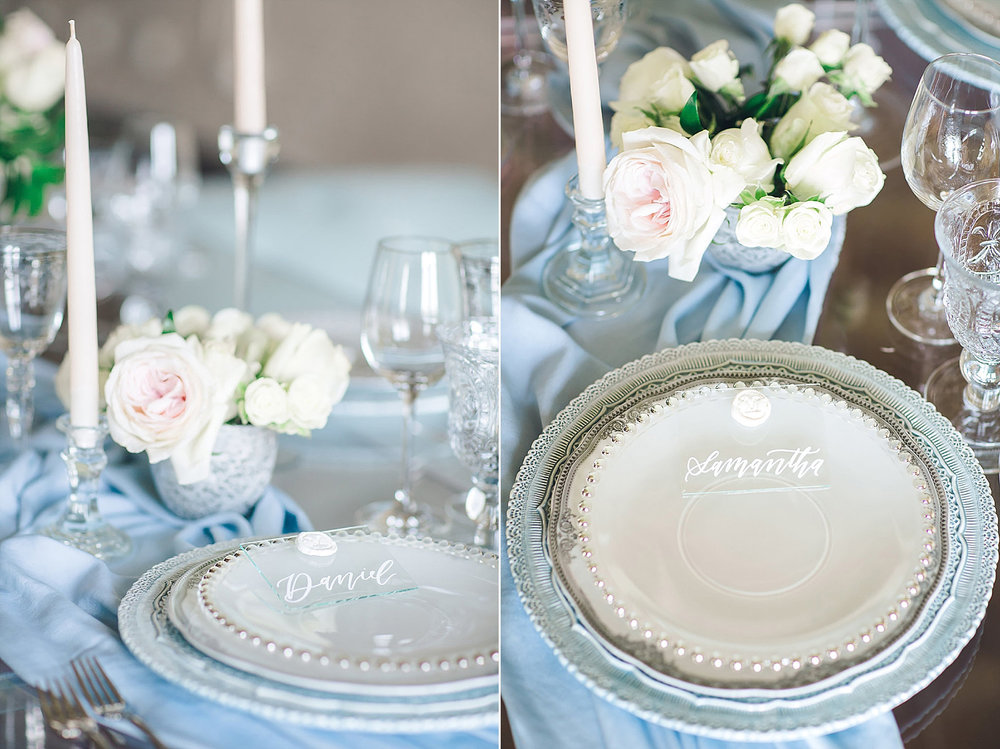 Dusty blue place setting at Brik Venue with dusty blue table runner
