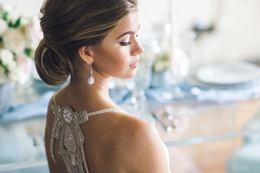 Bride wearing haute bride earings