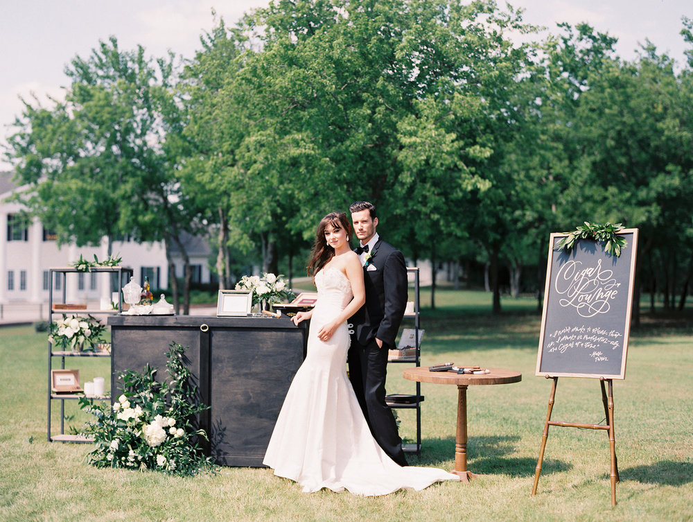Wedding cigar lounge styled shoot for Brides of North TX at the Milestone in Denton TX