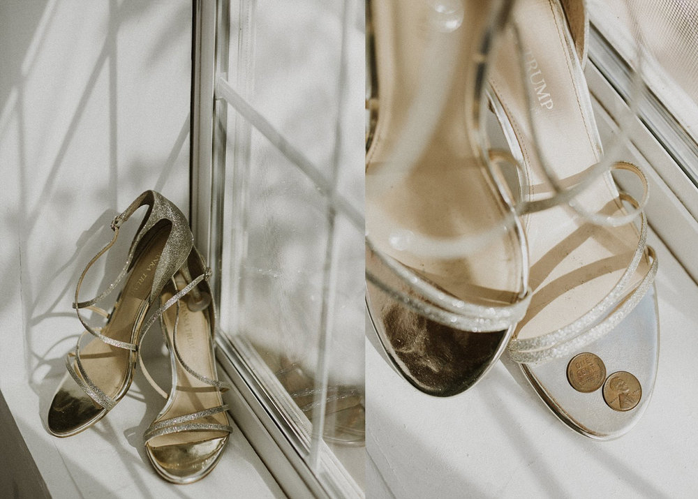 Nude wedding shoes with penny in shoe