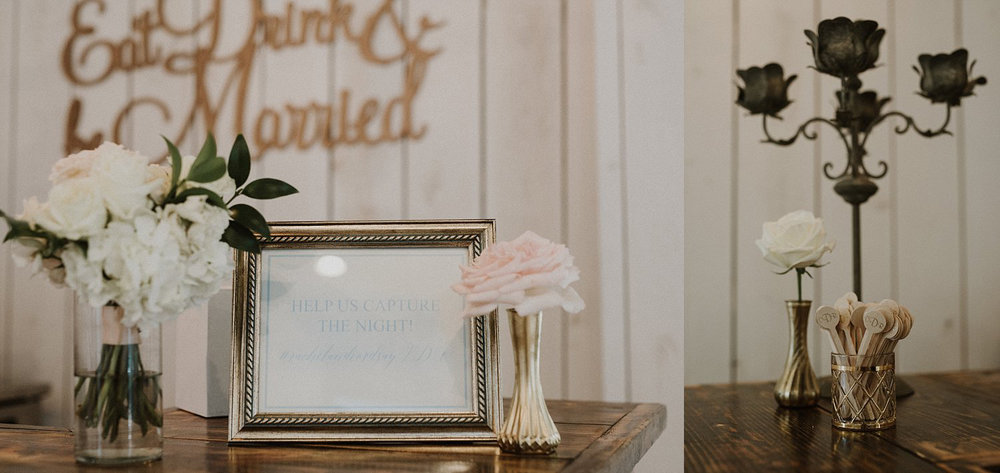 Barn signage with gold bud vases and blush flowers