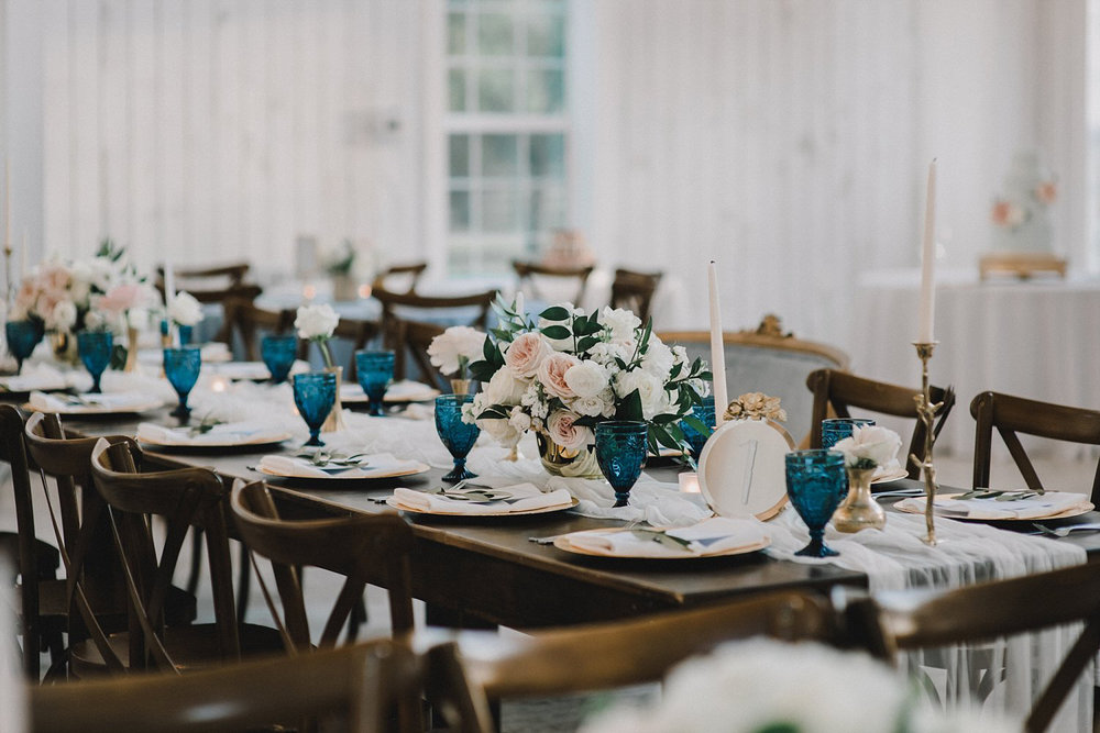 Farm table at White Sparrow Barn wedding