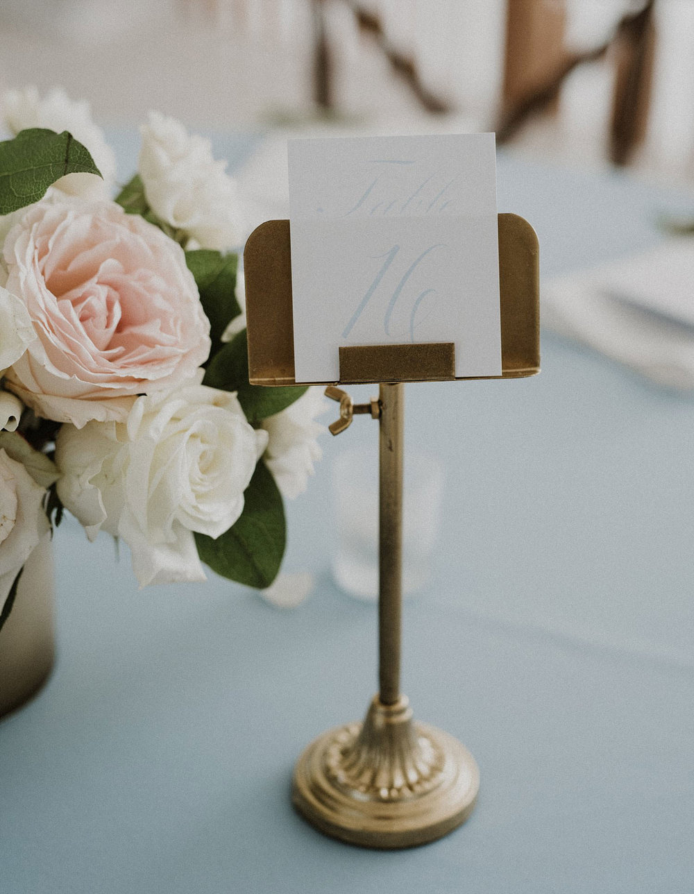 printed table number on gold stand