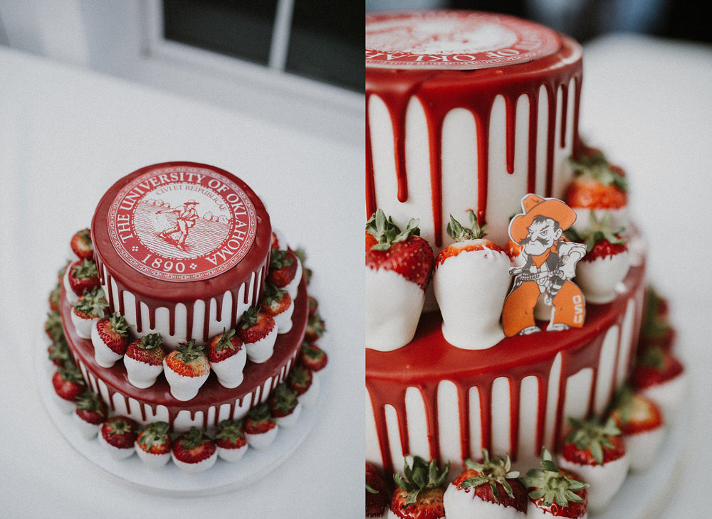 University of Oklahoma groom's cake with white chocolate and red drip with hidden cowboy