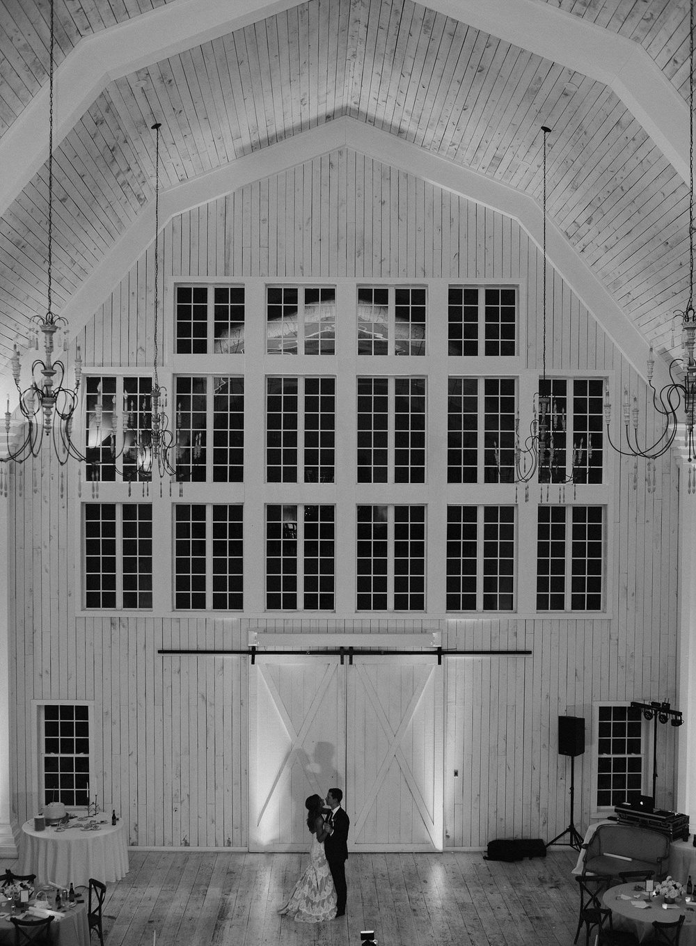 Bride and groom dancing to private dance at White Sparrow Barn
