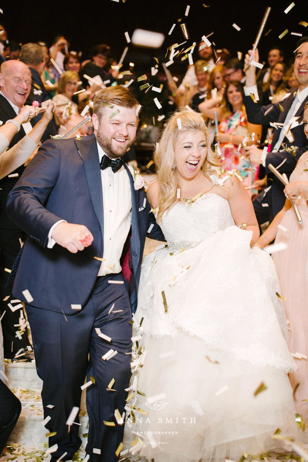 Confetti wedding exit at dallas ballroom wedding