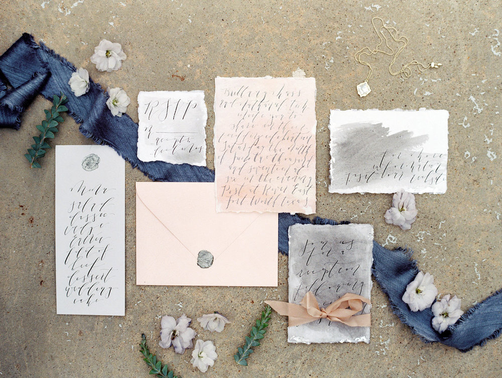Moody fine art wedding invitation suite