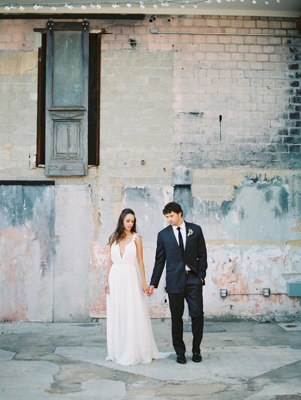 Bride and groom at Post River East in Fort Worth