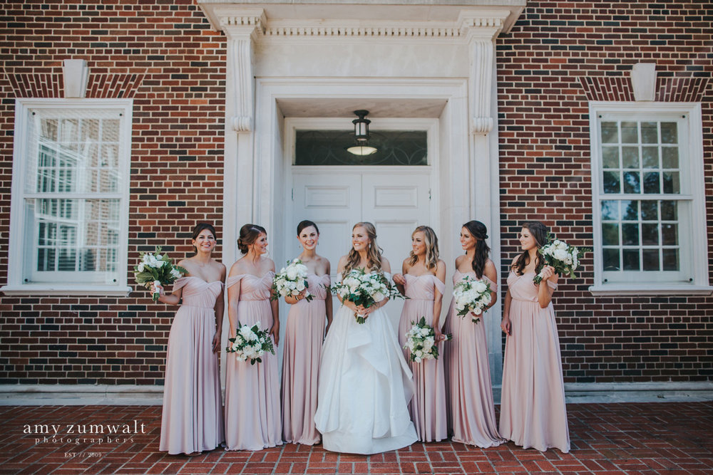 first presbyterian church wedding with long blush bridesmaid dresses