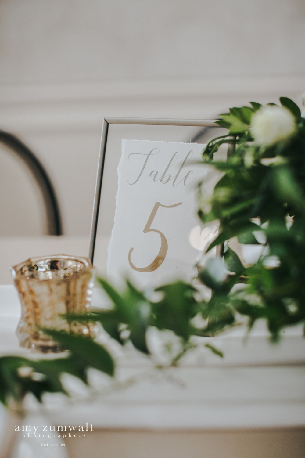 Gold float frame table number