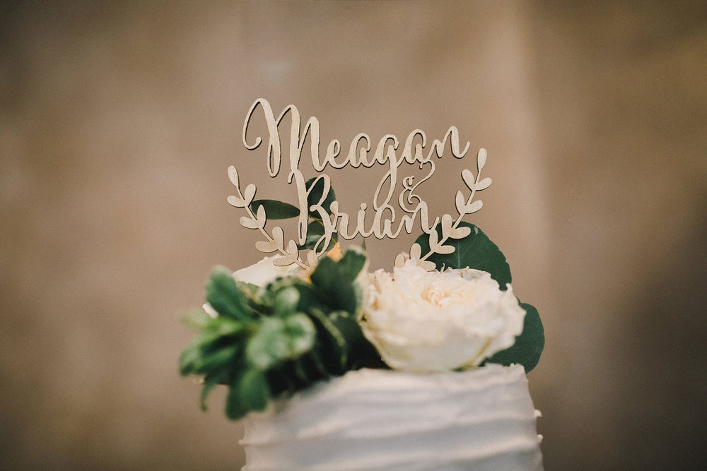 Wood laser cut cake topper with greenery