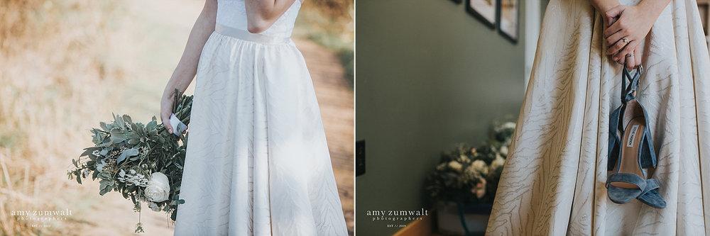 bride holding blue velvet shoes