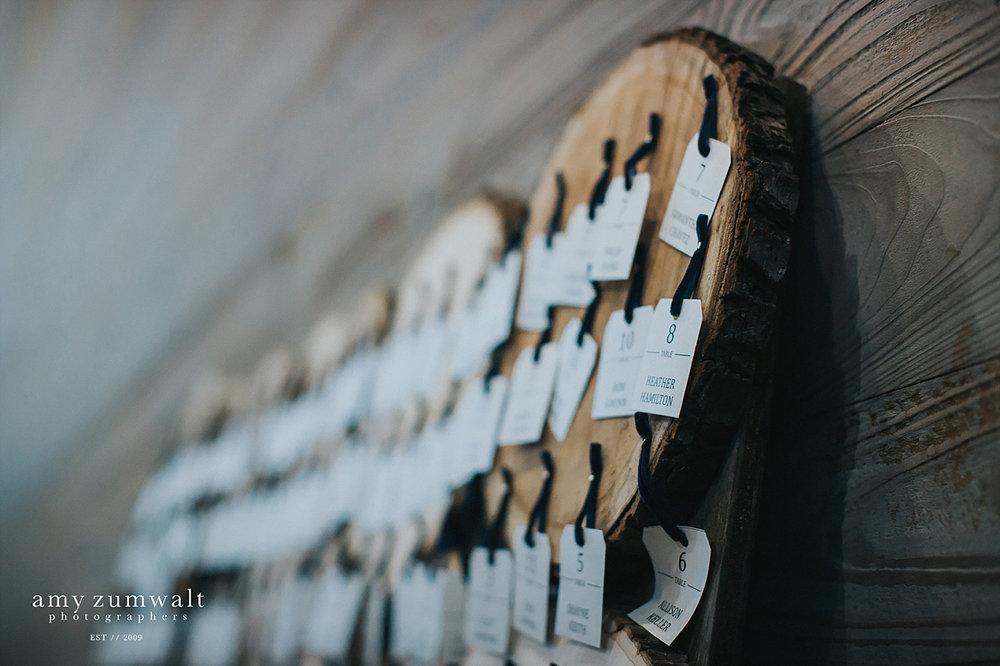 wood stump steating chart with velvet ribbon
