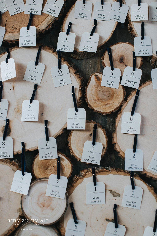 navy velvet ribbon on wood stumps