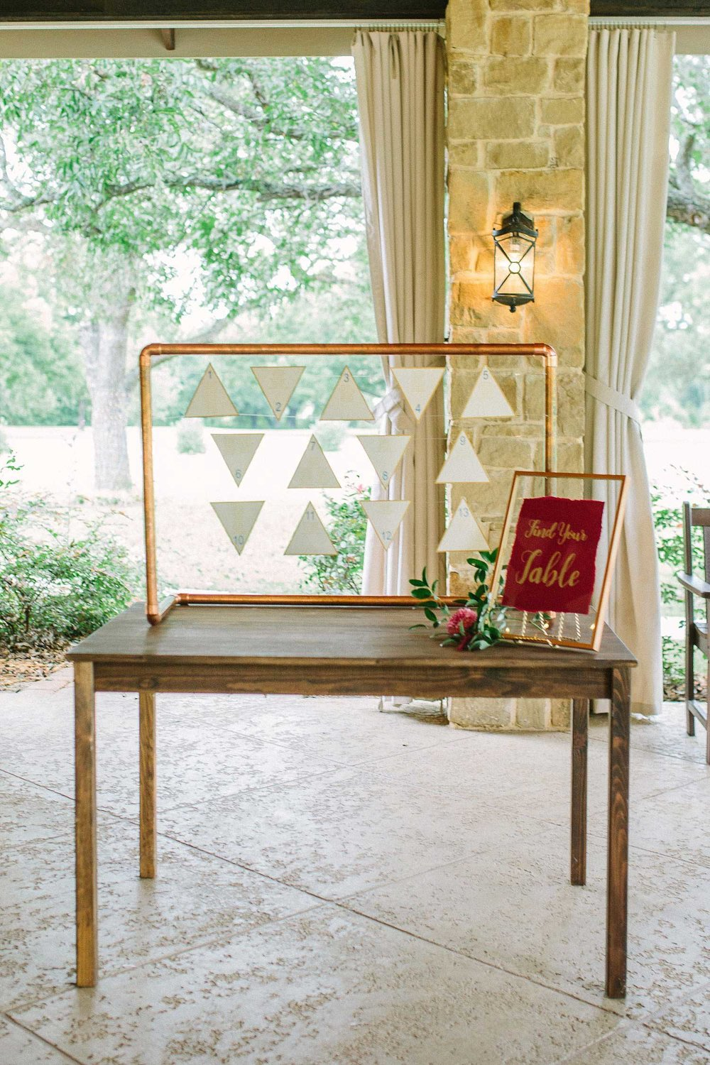 Copper seating chart with geometric shapes