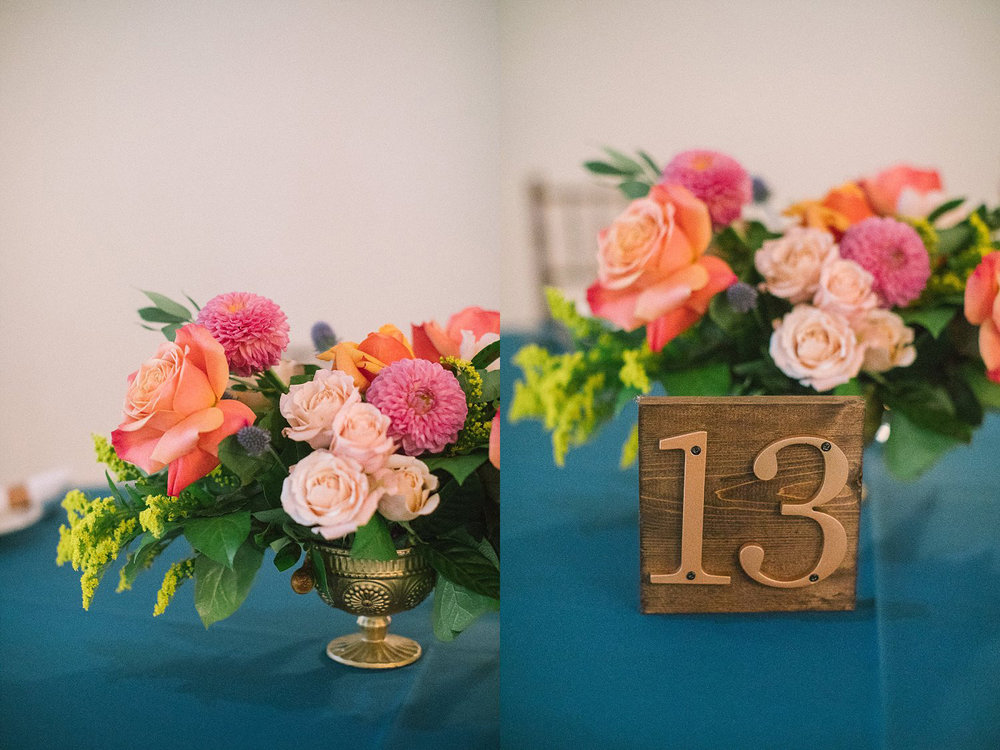 Wood table number with copper numbers