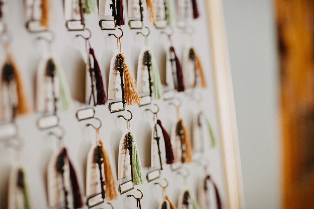 tassel and key escort cards