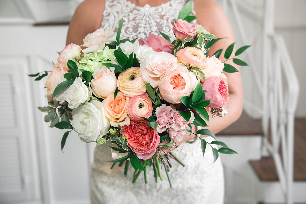 Peach, Coral & Pink bridal bouquet