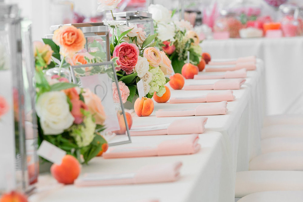 wedding with peaches as escort cards