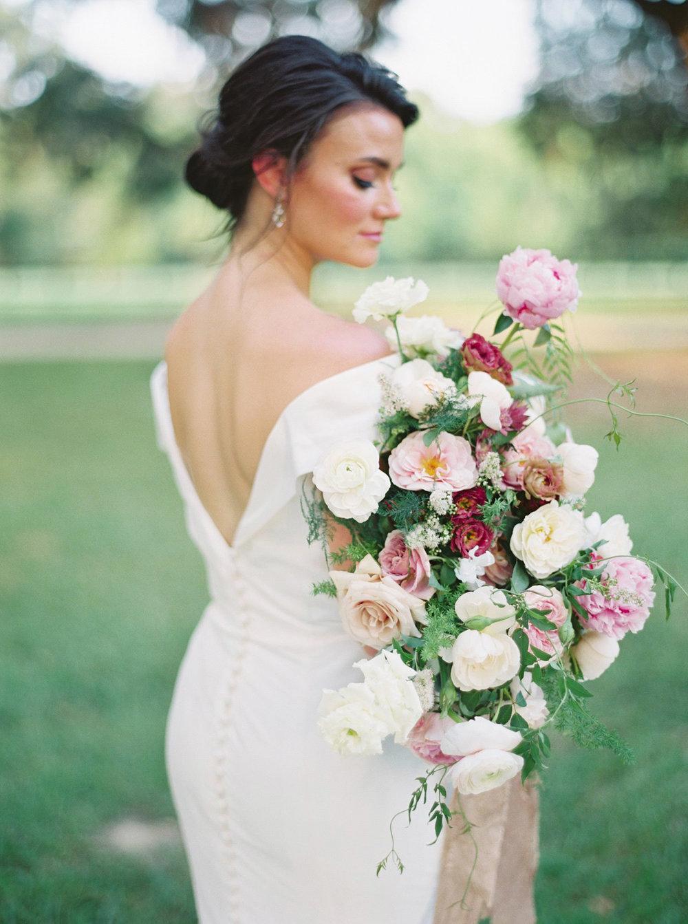 Mauve, dusty rose, blush, and white fine art wedding bouquet