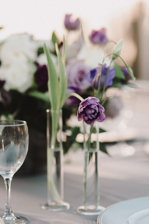 Clear table number and cylinder bud vases