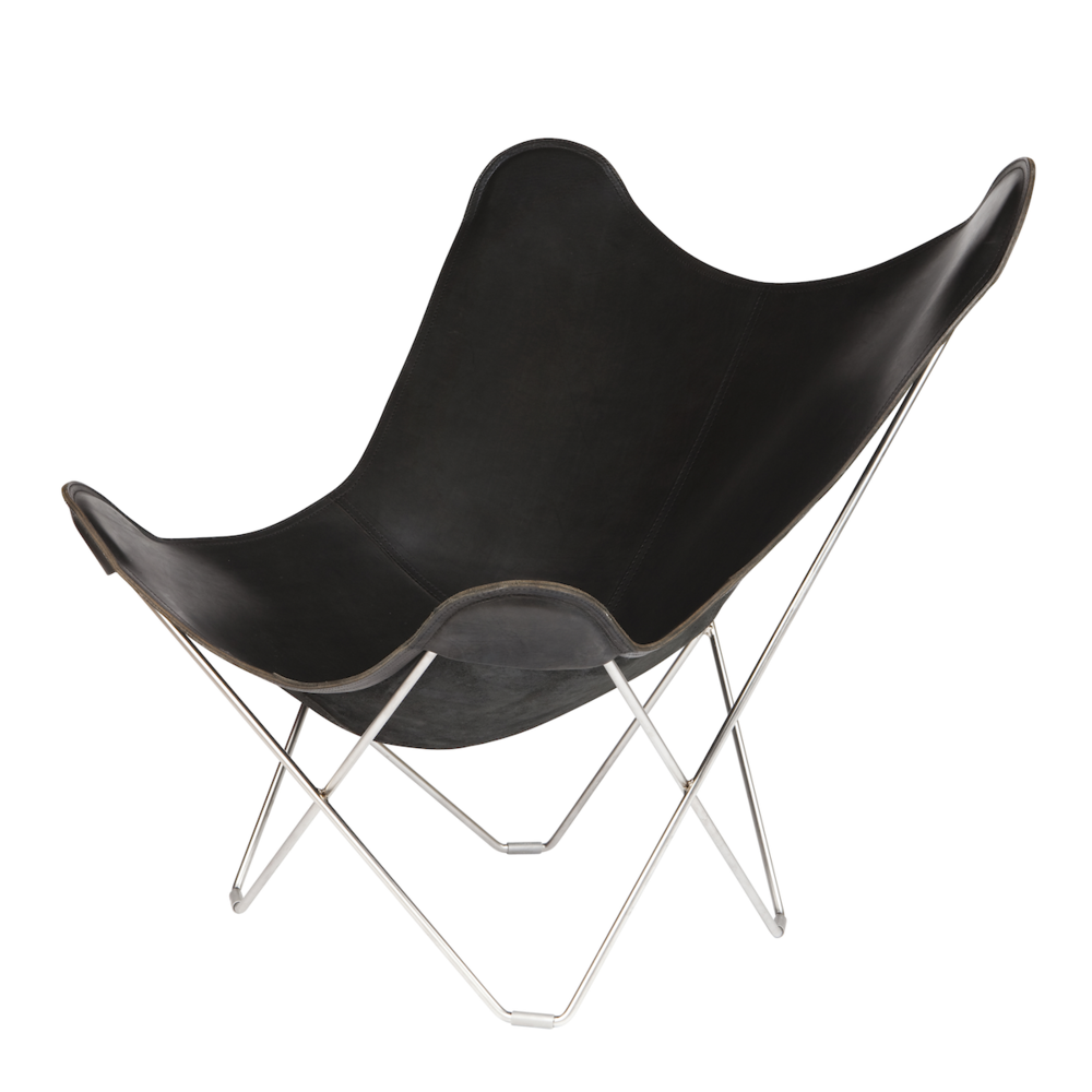 Butterfly chair black - Leather Butterfly Chair Black