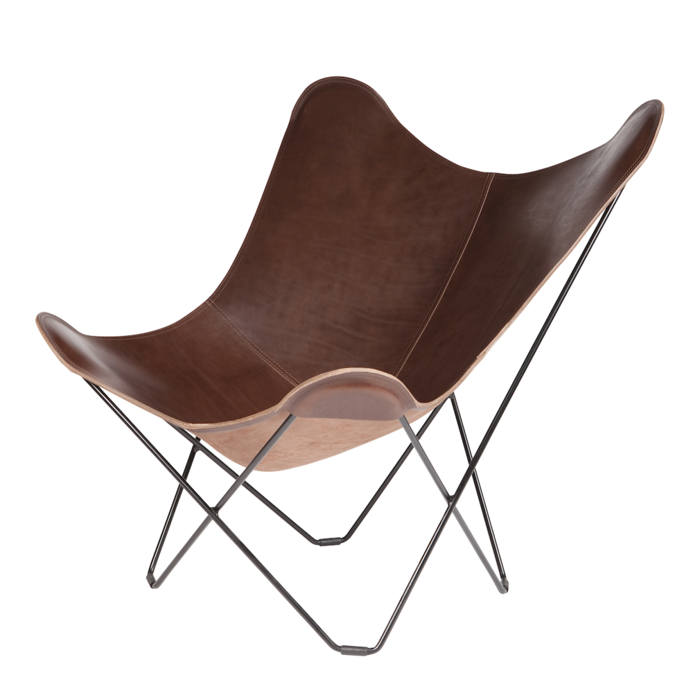 Leather Butterfly Chair   Chocolate