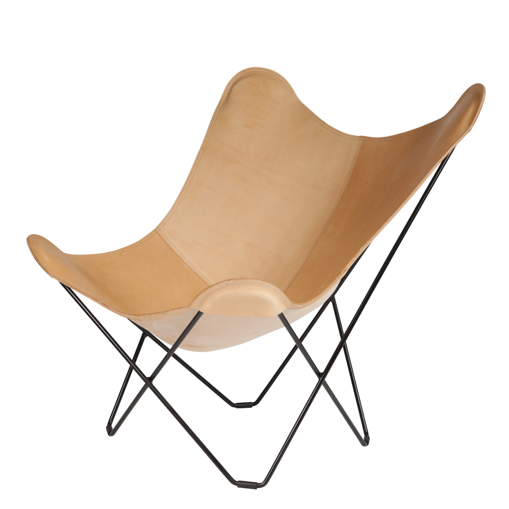 Leather Butterfly Chair Nature   Black Frame By Cuero Design
