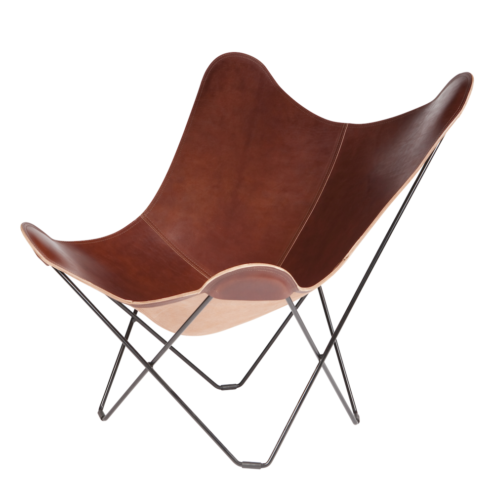 Superbe Leather Butterfly Chair   Oak