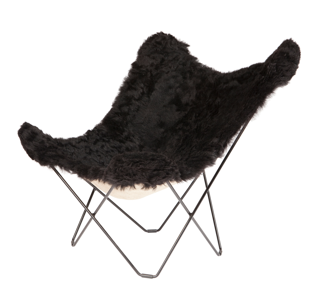 Butterfly chair black - Sheepskin Butterfly Chair Black
