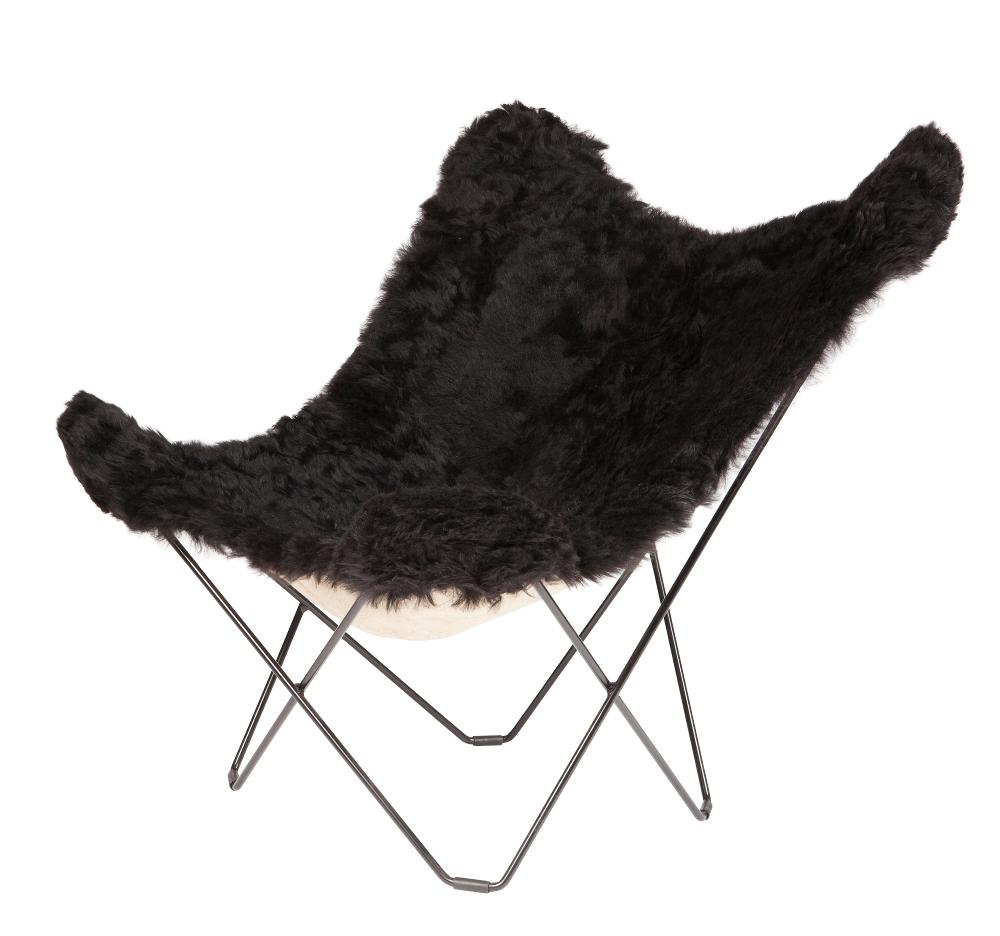 Sheepskin Butterfly Chair   Black