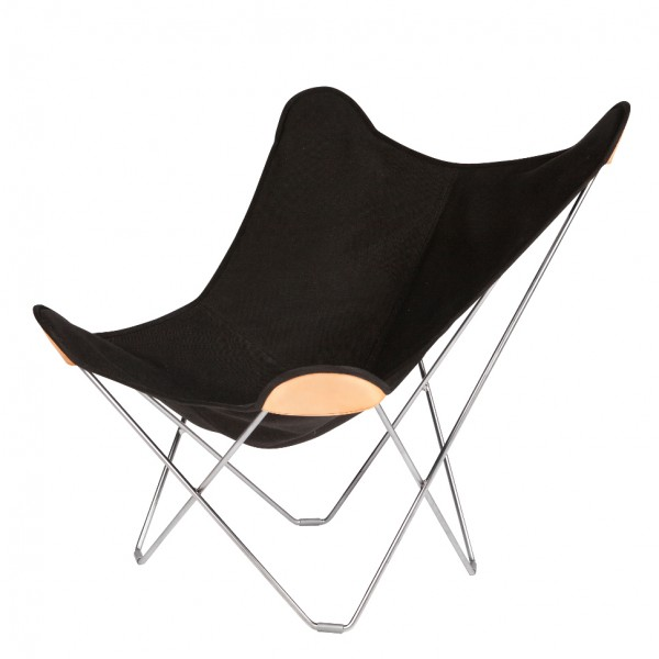 Canvas Butterfly Chair   Black