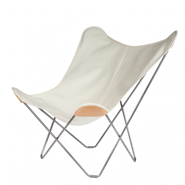 Canvas Butterfly Chair   White