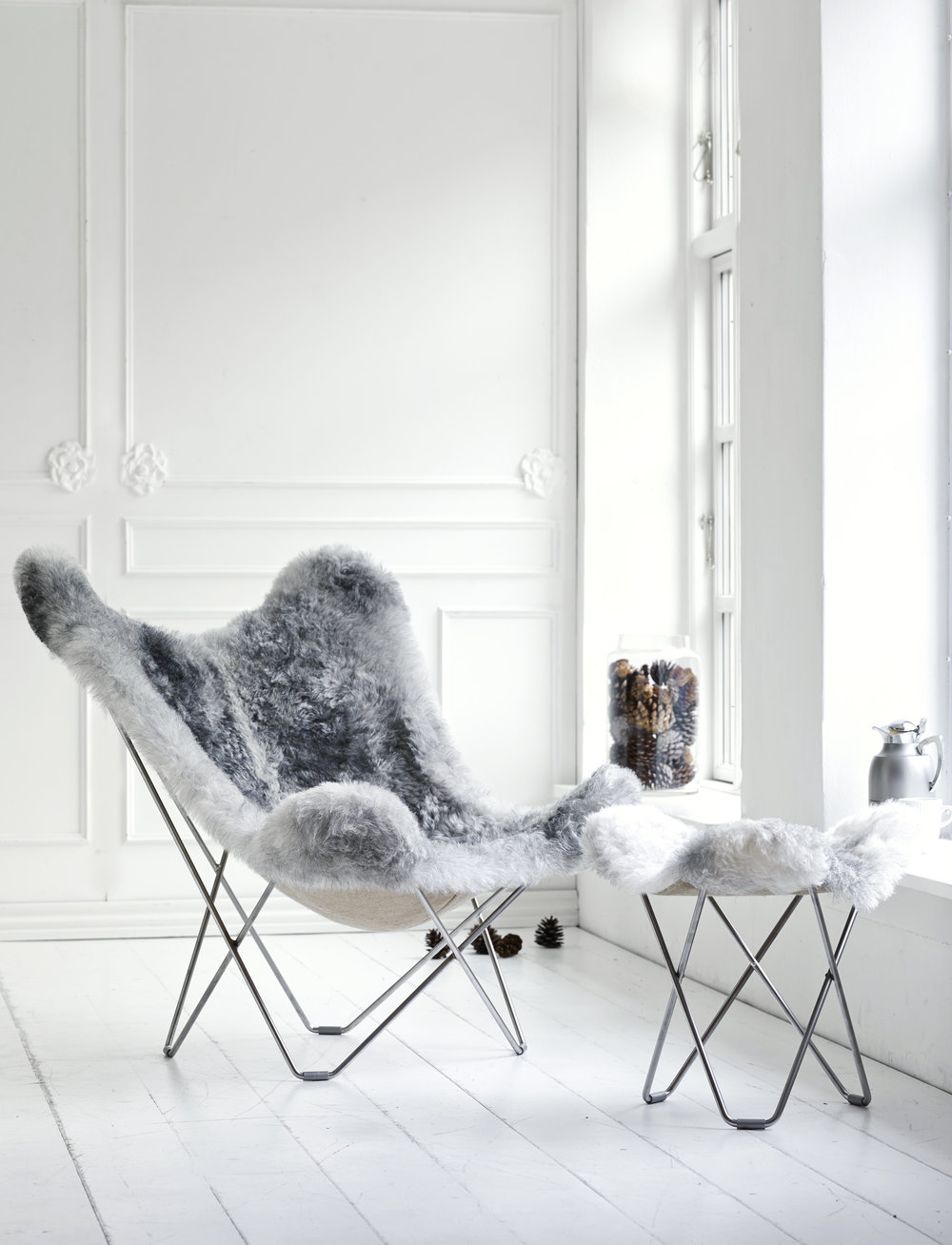Sheepskin Butterfly Chair   Grey