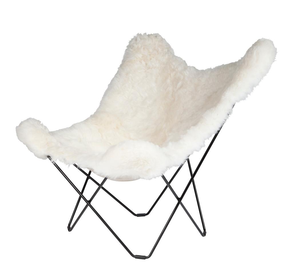 Sheepskin Butterfly Chair   White