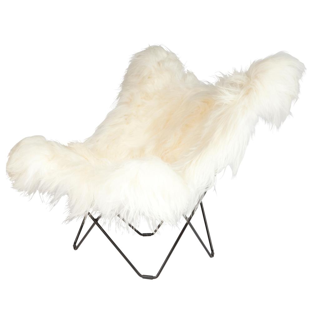 Long Hair Sheepskin Butterfly Chair   White