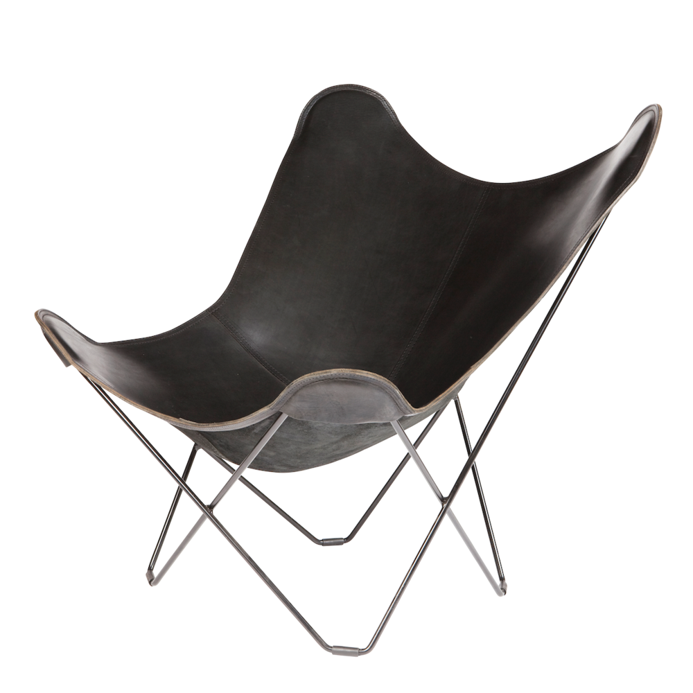 Leather Butterfly Chair   Black