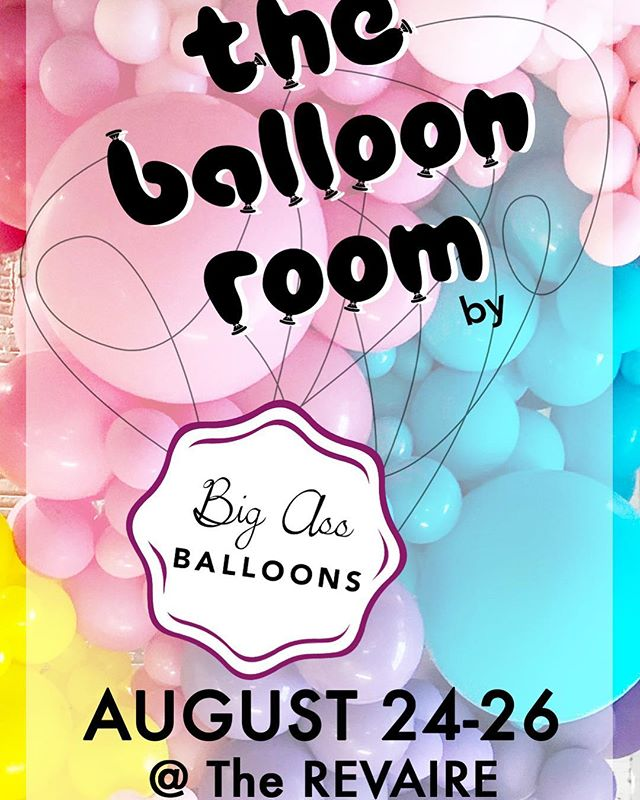 "DID YOU HEAR?!?! • We are officially hosting a POP UP BAB EXHIBIT called ""The Balloon Room"" on August 24th-26th at @therevaire • Have the chance to stand in front of MASSIVE balloon installations created by yours truly, take billions of IG worthy photos and have a BLAST!! No popping allowed! 🎈🤪 • Ticket link in @bigassballoons profile! I'll be there and hope to see you there too! 🎈💕😘"