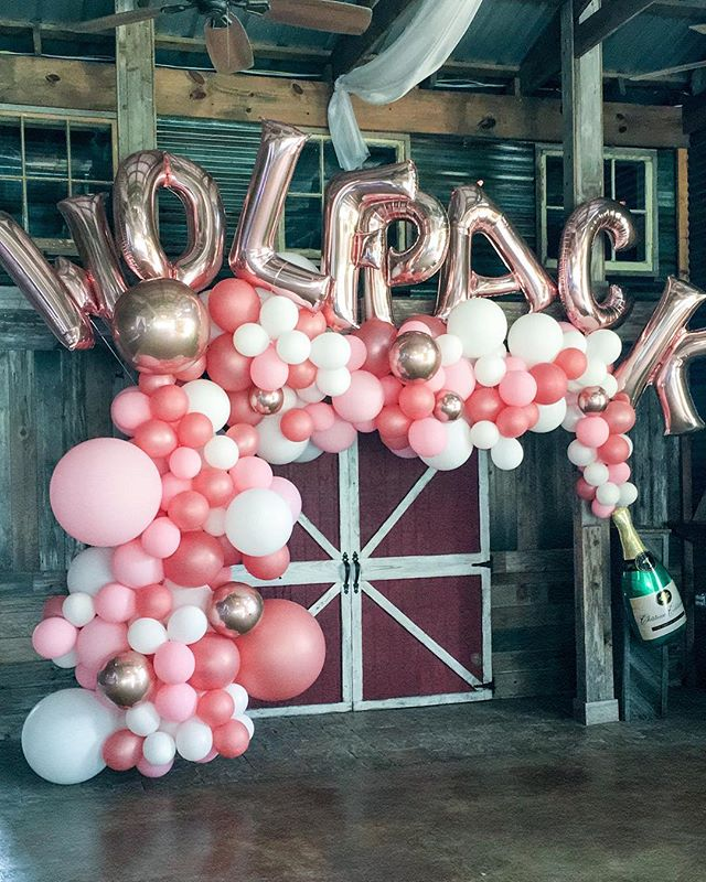 Another week and another PINK @bigassballoons garland! This one inspired by the best bubbly pink drink for a couple post-elopement celebration with friends! What type of garland would YOU want for a celebration? We offer all kinds 😉 #aTcSnaps #balloons #balloonart #balloongarland #houstonballoons #wolfpack #champagne #champagneballoon #pink #createeveryday #herestothecreatives