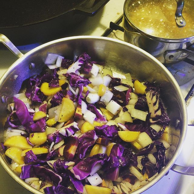 #cookingbycolor is one of our favorites! #purplecabbage #purplecarrots #yellowcarrots #turmeric #rice can you tell we are ready for #spring . . . . . #stlvegan #followthebeet #whatveganseat #vegansofig #plantbased #seasonalwellness #plantpowered #curry #vegan