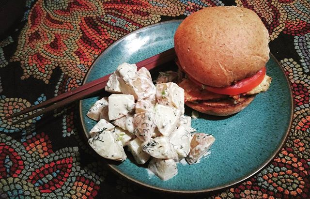 #vegan #potato #salad #potatosalad #vegansofig #buns #tempeh #avocado #mustard #tahini #veganfood #homeade #yum #delicious #chopsticks #veganlife #love #food #stlvegan #stl #stlouis