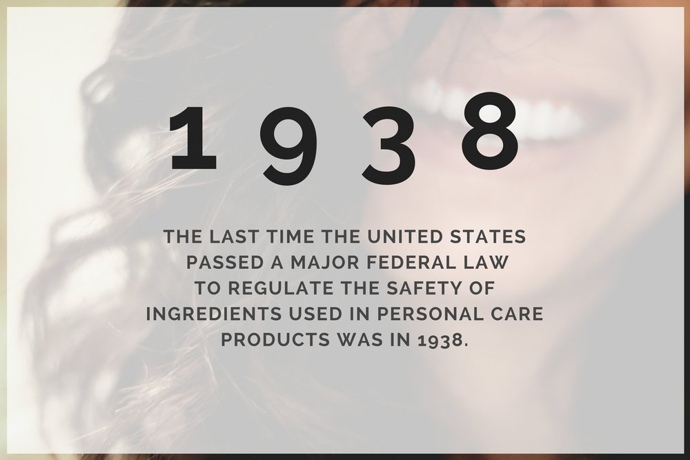The United States  has not passed  a major federal law to regulate the safety of ingredients used in personal care products  since 1938 .
