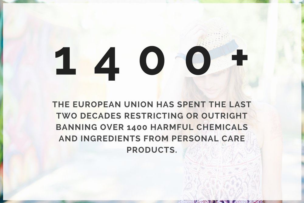 Across the pond, the European Union has spent the past two decades restricting or  banning approximately 1,400 harmful chemicals  and ingredients from personal care products. The United States: 30 partially banned ingredients.