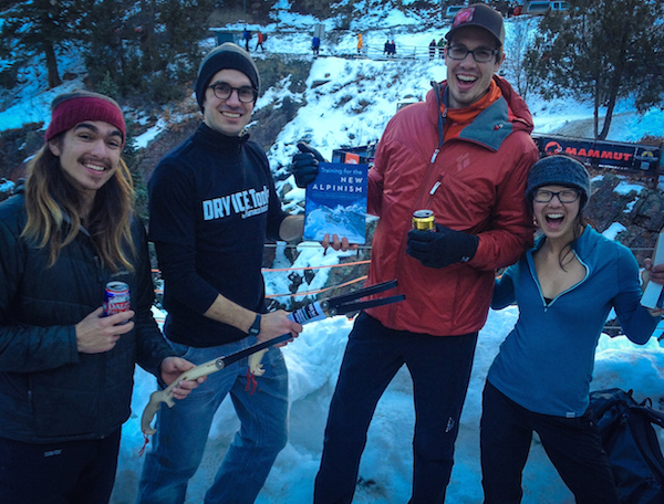 FI Co-Owner George Fisher with 2015 Ouray Ice Fest DRY ICE Tool Pull Up Contest Winners Tobias Smith, Kathy Karlo, and Galen Jones.