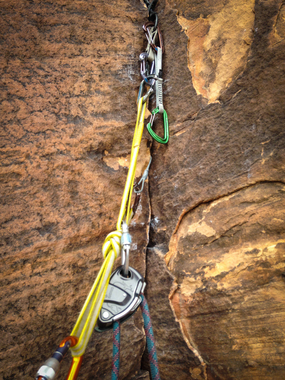 The GriGri + used on a gear anchor in Red Rocks.