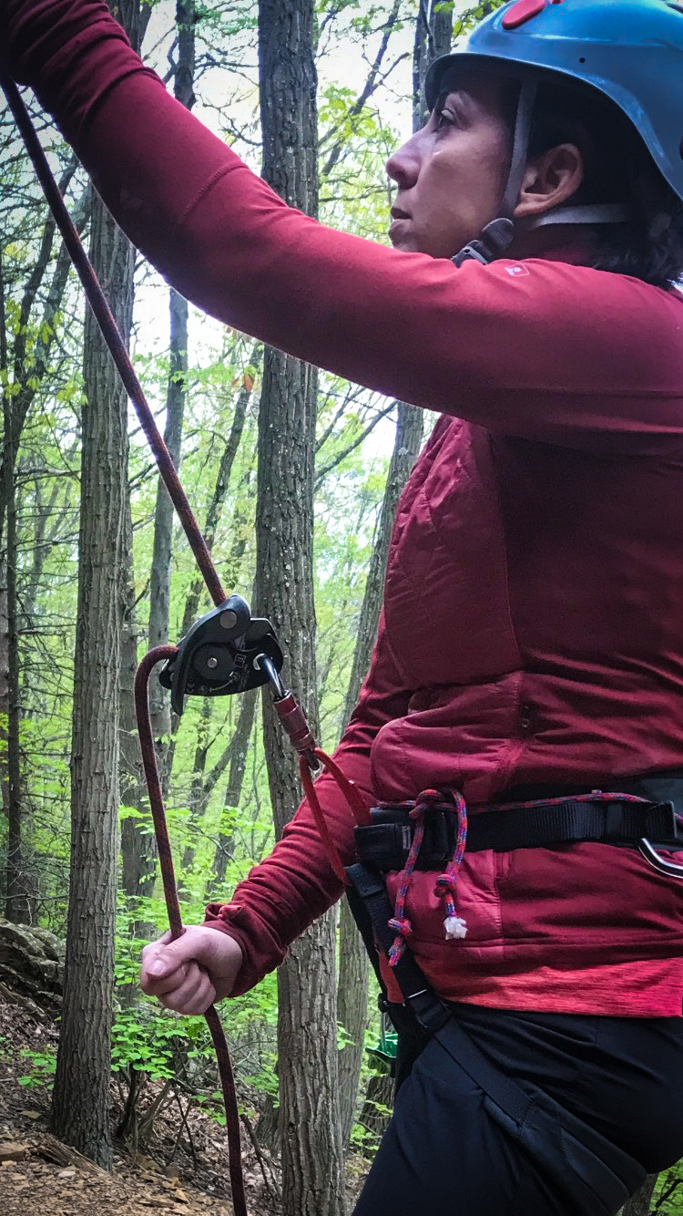 A client belays Climbing Guide Matt Shove with a GriGri +