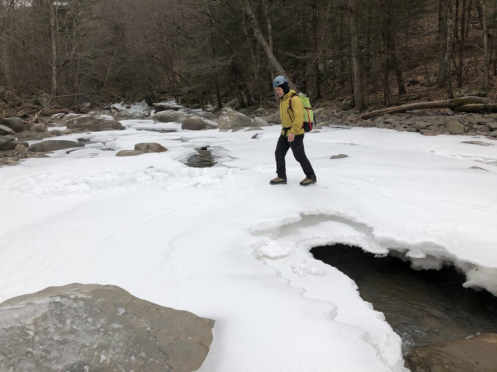 Crossing Kaaterskill Creek in solid conditions.